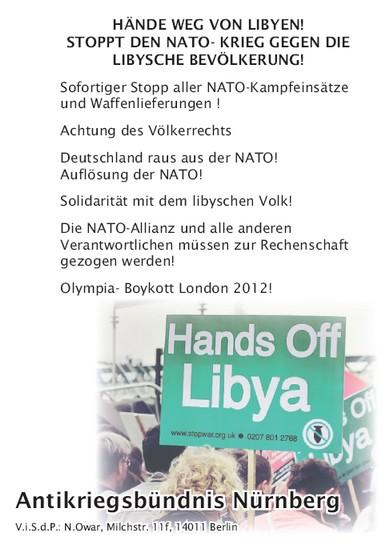"""Bild des Flugblatts """"Hände weg von Libyen"""""""