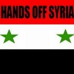 """Syrische Fahne mit Aufschrift """"Hands off Syria"""" Das gilt auch für das Wadi Barada"""