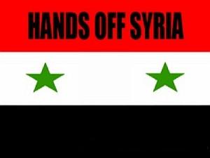 """Syrien: Das ist KEINE Revolution! -- Syrische Fahne mit Aufschrift """"Hands off Syria"""" Das gilt auch für das Wadi Barada"""