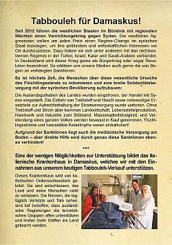 Flugblatt: Tabbouleh für Damaskus!