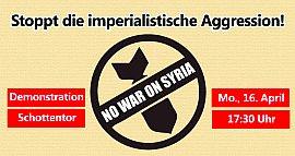Plakat: Demo gegen den Krieg in Syrien