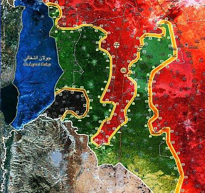 Frontverlauf in Südsyrien - Zum Artikel Jarmuk ist frei